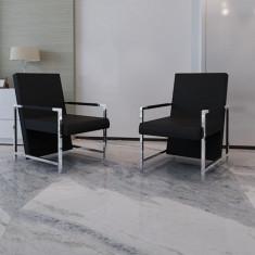 Fotoliu Cub Negru cu Picioare Crom Calitate Superioară 2 buc - Taburet