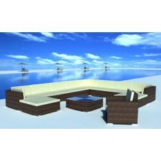 Set mobilier grădină din poliratan 35 buc. Maro - Set gradina