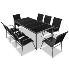 Set mobilier de exterior din nouă piese, negru - accesoriu mobila