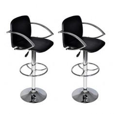 Set scaune bar cu spătar și suport brațe, Negru - Set mobila living