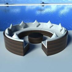 Canapea rotundă pe segmente din poliratan Maro - Mobila Rattan