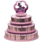 3 rangurilor tort Stand cu 48 felie de tort roz Cutii - Marturii nunta