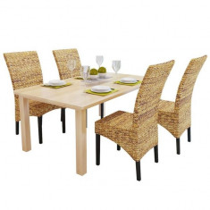 Set scaune bucatarie din rattan de abaca, maro, 4 buc - Scaun bucatarie