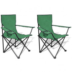 Set 2 scaune pliabile de camping, Verde - Mobilier camping