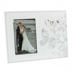 Fotografie de nunta cadru alb PU cu fluture de argint 3.5