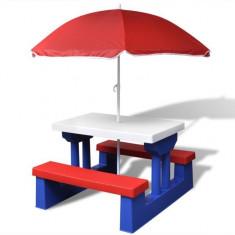 Măsuță picnic pentru copii cu umbrelă