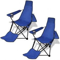 Set de 2 scaune pliabile camping cu suport pentru picioare, albastru - Mobilier camping