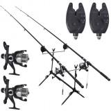 Set pescuit cu 2 lansete telescopice și semnalizatori 3, 6 m, 9 piese
