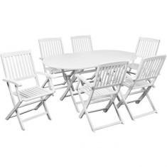 Set mobilier de exterior din lemn de salcâm, Șapte piese, Alb - accesoriu mobila