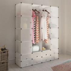 Dulap modular cu 18 compartimente, alb, 37 x 150 x 190 cm
