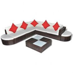 Set mobilier de grădină din poliratan 27 piese Maro - Set gradina