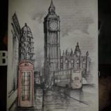 Grafica in tus Londra - Pictor roman, Peisaje, Cerneala, Realism