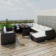 Set canapea pentru servit masa din poliratan, 28 buc, negru - Husa pat