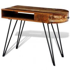 Birou din lemn reciclat cu picioare metalice
