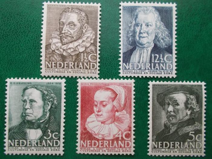 Olanda 1938 44 Euro cultura personalitati - serie nestampilata MNH foto mare
