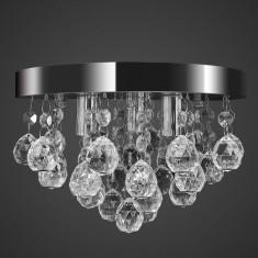 Candelabru cu cristale, design cromat - Cercei Fashion