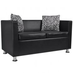Canapea din piele artificială, 2 locuri, negru