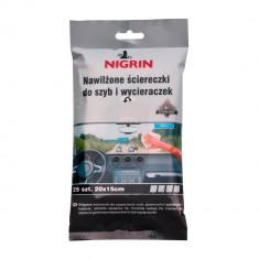 Servetele curatare geamuri Nigrin, 25 buc, 20x15 cm - Solutie curatat geamuri Auto