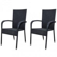 Set 2 scaune grădină din poliratan, Negru - Scaun gradina