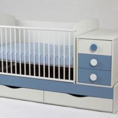 Patut Transformabil Silence Alb-Albastru - Patut lemn pentru bebelusi MyKids