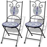Set de 2 scaune din mozaic, culoare albastru și alb - Scaun gradina