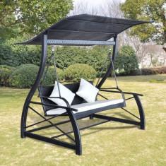 Balansoar pentru exterior cu acoperiș din ratan, Negru - Spatiu de joaca