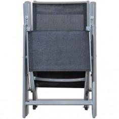 Scaun din textilenă pentru grădină cu suport pentru picioare, Negru - Scaun gradina