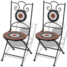 Set de 2 scaune din mozaic, culoare teracota și alb - Scaun gradina