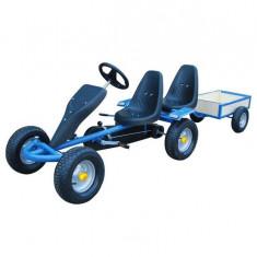 Kart pentru copii cu 2 locuri și remorcă Albastru - Tricicleta copii