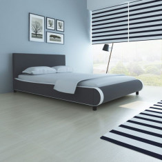Pat tapițat cu piele artificială 140 cm, gri - Cuvertura pat