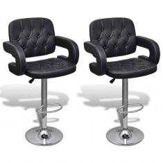 Set 2 scaune bar pivotante piele artificială cu suport brațe Negru - Set mobila living