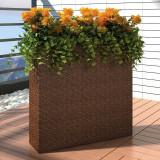 Ghiveci rectangular din ratan pentru grădină, 1 buc, Maro