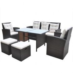 Set mobilier de exterior din poliratan, 18 piese, maro - accesoriu mobila