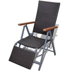 Scaun din ratan pentru grădină cu suport pentru picioare, Maro - Scaun gradina