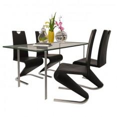 Set 4 scaune cantilever piele artificială, picior în formă de U, negru - Scaun living