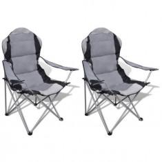 Set 2 scaune pliabile de camping XXL, Gri - Mobilier camping