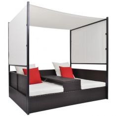 Pat lounge dublu cu baldachin din poliratan, maro - Cuvertura pat