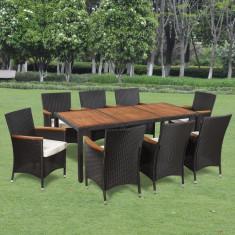Set mobilier de grădină din ratan cu 8 scaune si masa cu blat de lemn - Set mobilier baie