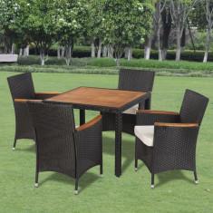 Set mobilier de grădină din ratan cu 4 scaune si masa cu blat de lemn - Set mobilier baie
