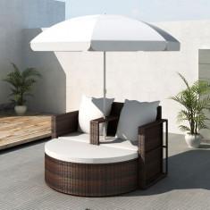 Mobilier grădină din poliratan cu parasolar, Maro - Mobila terasa gradina