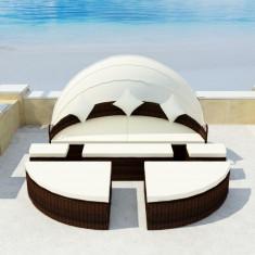 Set mobilier de exterior cu baldachin din poliratan 2-în-1 Maro - accesoriu mobila