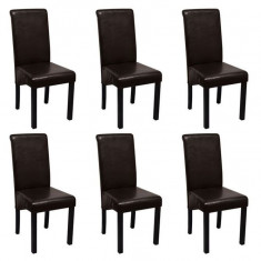 Set de 6 scaune de sufragerie din piele artificială, maro - Scaun living