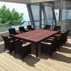 Set mobilier de exterior din poliratan, 200 x 150 cm, negru - accesoriu mobila