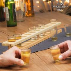 Pahare de Shot cu Suport din Lemn Bravissima Kitchen (11 piese) - Suport sticla vin