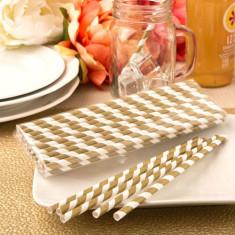 colectare mat de aur și dungă albă de hârtie paiele de design 'Plain Perfect'