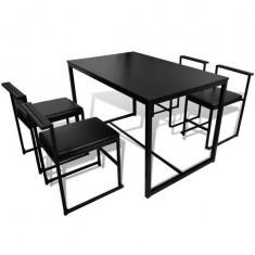 Set masa cu 4 scaune, Negru - Set mobila living