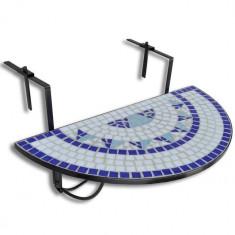 Masă suspendată pliabilă pentru balcon semi-circulară, Alb-Albastru - Masa gradina