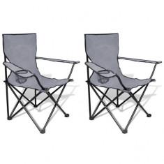Set 2 scaune pliabile de camping, Gri - Mobilier camping