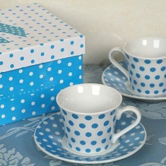 Elegant, cafea espresso Colectia Albastru Polka Dot - Espressor