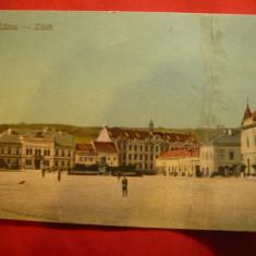 Ilustrata Zalau -Piata Orasului, circ.1923, stamp. Ambulanta, Zalau-Careii Mari - Carte Postala Crisana dupa 1918, Circulata, Printata
